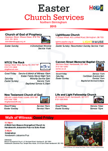 Easter Church Services in Northern Birmingham and the Good Friday Walk of Witness down Soho Road, Handsworth.